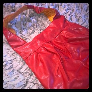 Handbags - Red & Orange Faux Leather Hobo Bag